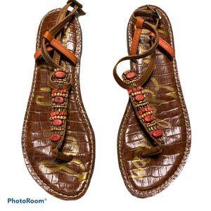 Sam Edelman t strap beaded thong sandals size 7.5